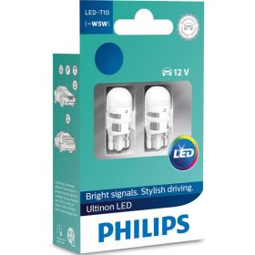 Лампа автомобильная  светодиодная Philips W5W  Ultinon 4000K 12V, 2шт/блистер