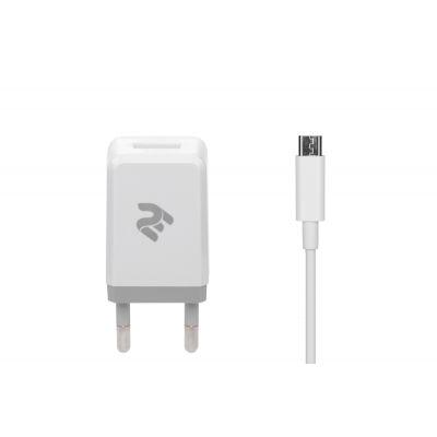 Набір Мережевий ЗП 2E USB Wall Charger USB:DC5V/2.1A +кабель MicroUSB 2.4A, white