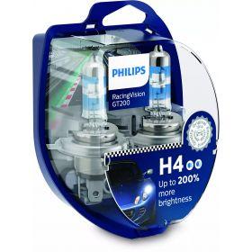 Лампа галогенная Philips H4 RACING VISION +200%, 2 шт блистер