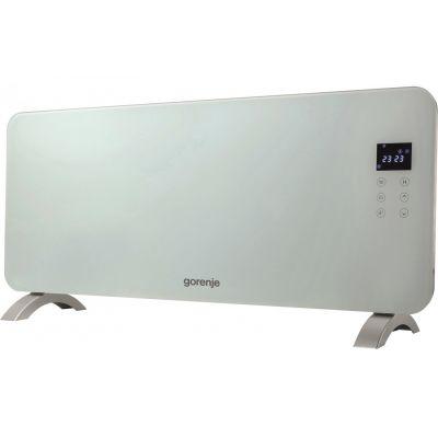 Конвектор электрический Gorenje OptiHeat 2000 GTWPT, 1000/2000Вт, 20 м2, элект. управл-е, IP24, закалённое стекло, белый