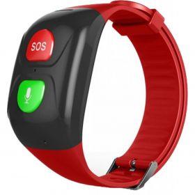 Телефон-часы с GPS трекером GOGPS М03 кнопка SOS черные с красным